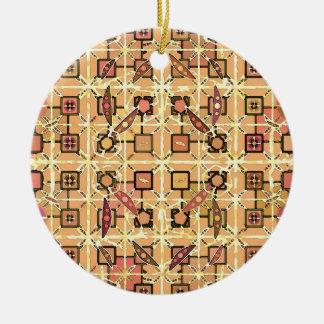 Tribal Batik - chocolate brown and camel tan Ornaments