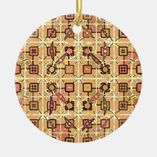 Tribal Batik - chocolate brown and camel tan Round Ceramic Decoration