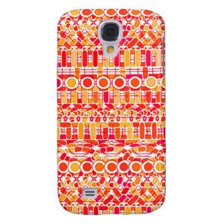 Tribal Batik - coral orange and coral pink Samsung Galaxy S4 Covers