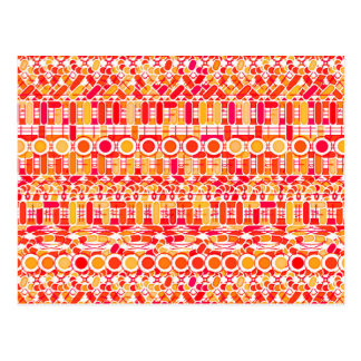 Tribal Batik - coral orange and coral pink Postcard