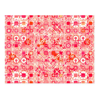 Tribal Batik - coral pink, coral orange and cream Postcards