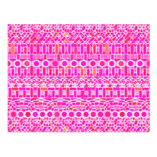 Tribal Batik - fuchsia pink, magenta and coral Post Cards