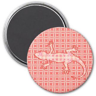 Tribal batik Gecko - coral pink and cream Refrigerator Magnet