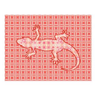 Tribal batik Gecko - coral pink and cream Postcard