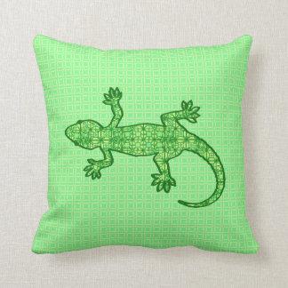 Tribal batik Gecko - lime and emerald green Cushion