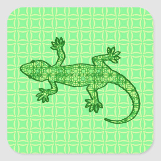 Tribal batik Gecko - lime and emerald green Square Sticker