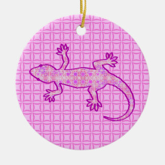 Tribal batik Gecko - orchid and shell pink Round Ceramic Decoration