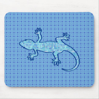 Tribal batik Gecko - soft denim blue Mouse Pad