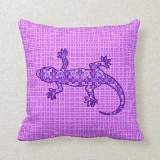 Tribal batik Gecko - violet and amethyst purple Cushion