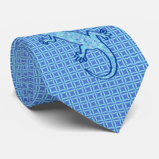 Tribal batik Gekko - soft denim blue Tie