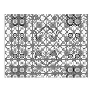 Tribal Batik - grey / gray, black and white Postcard