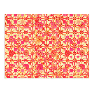 Tribal Batik - orange, coral pink and fuchsia Post Card