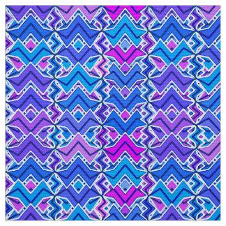 Tribal Batik Print, Blue, Violet and White Fabric