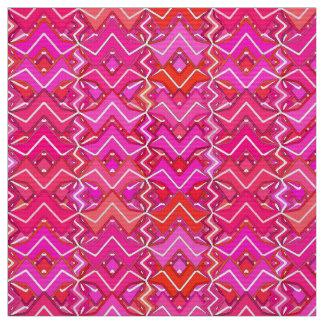 Tribal Batik Print, Fuchsia, Coral Pink, and Red Fabric