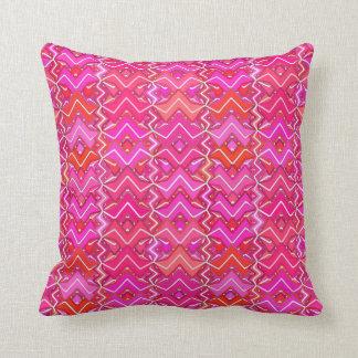 Tribal Batik Print, Fuchsia, Coral Pink, and Red Throw Pillow