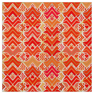 Tribal Batik Print, Mandarin and Light Orange Fabric