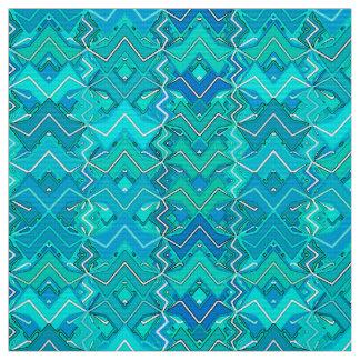 Tribal Batik Print, Turquoise, Aqua and Seafoam Fabric