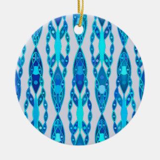 Tribal Batik - Sapphire Blue and Silver Grey Round Ceramic Decoration
