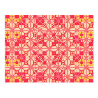 Tribal Batik - shades of coral pink Postcard