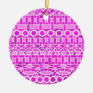 Tribal Batik - shades of orchid and violet Round Ceramic Decoration