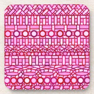 Tribal Batik - shades of pink and burgundy Drink Coasters