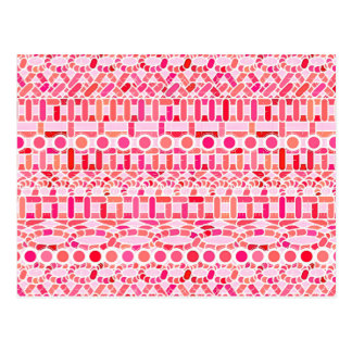 Tribal Batik - shades of pink and coral Post Card