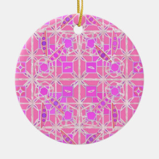 Tribal Batik - shades of pink and orchid Round Ceramic Decoration