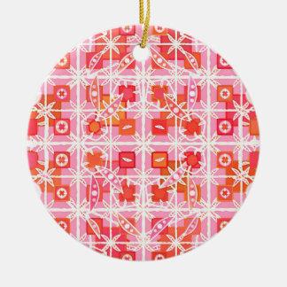 Tribal Batik - strawberry pink and red Round Ceramic Decoration
