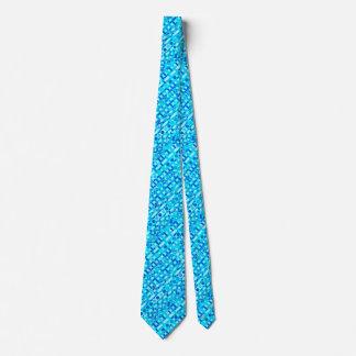 Tribal Batik - turquoise, aqua and cobalt blue Tie