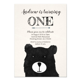 tribal bear birthday invitation