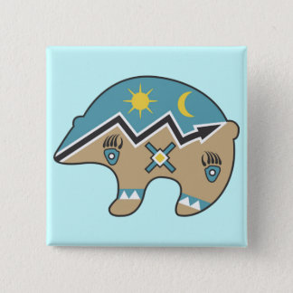 Tribal  Bear Design 15 Cm Square Badge