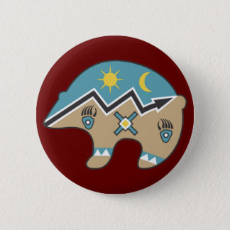 Tribal  Bear Design 6 Cm Round Badge