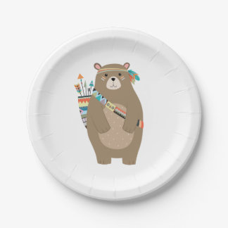 Tribal Bear Paper Plates 7 Inch Paper Plate
