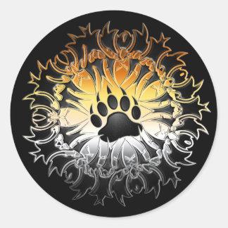 Tribal Bear Pride Paw Round Sticker