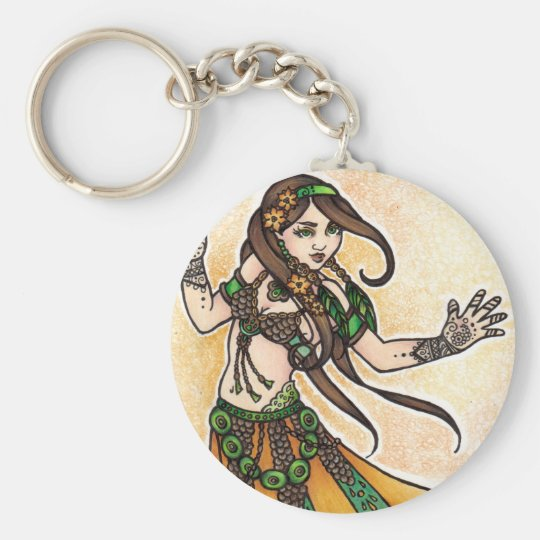 Tribal Belly Dancer Basic Round Button Key Ring