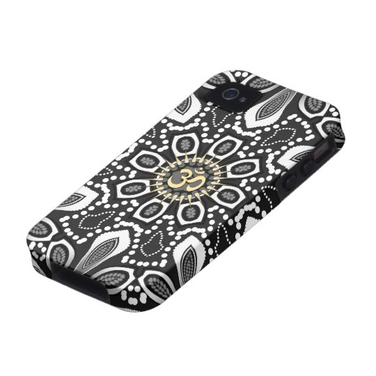 Tribal Black+White Aum iPhone 4 Case-Mate