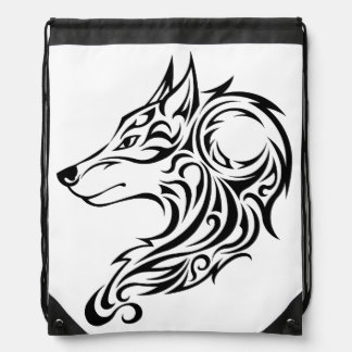 Tribal black Wolf 1 Drawstring Bag