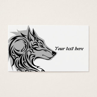 Tribal black Wolf 1 with shadow Business Card
