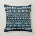 Tribal Blanket Pattern Blue Grey Black Cushion