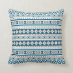Tribal Blanket Pattern Green Blue and Grey Cushion