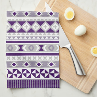 Tribal Blanket Pattern Purple Grey Tea Towel