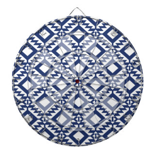 Tribal blue and white geometric dartboard