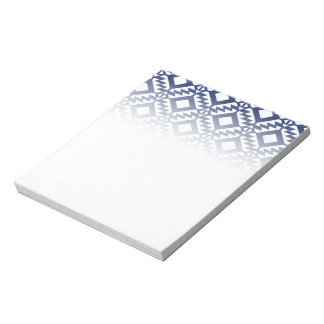 Tribal blue and white geometric notepad