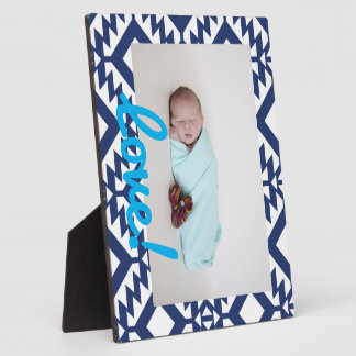 Tribal blue and white geometric photo plaques