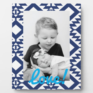 Tribal blue and white geometric plaques