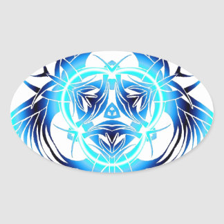 tribal blue warped oval sticker