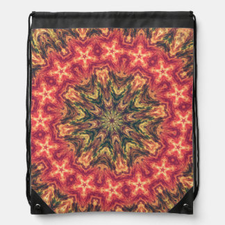 TRIBAL BOHEMIAN KALEIDOSCOPIC GEOMETRIC MANDALA DRAWSTRING BAG