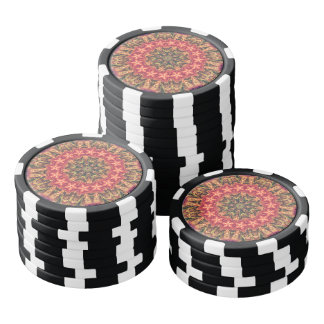 TRIBAL BOHEMIAN KALEIDOSCOPIC GEOMETRIC MANDALA POKER CHIPS