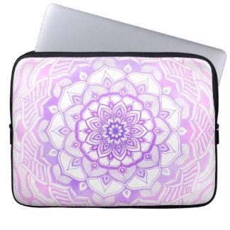 Tribal Bohemian Mandala Drawing Shabby Chic Purple Laptop Sleeve