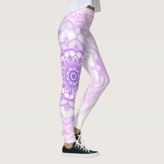 Tribal Bohemian Mandala Drawing Shabby Chic Purple Leggings